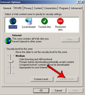 Internet explorer security options