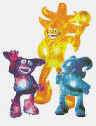 Los Spheriks (Kaz, Ato y Nik): mascotas Corea/Japón 2002