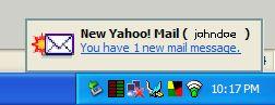 Yahoo! Mail Notifier の通知表示