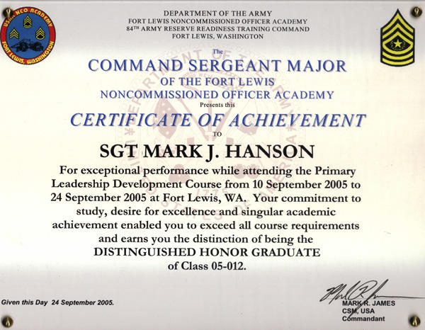 residual spark pldc – Army Certificate of Achievement Template
