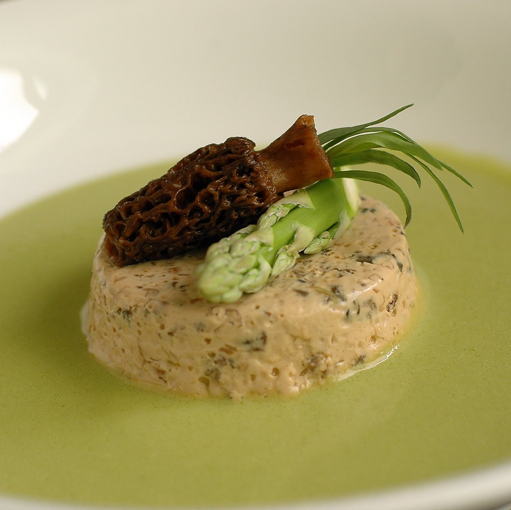 Asparagus Soup with Morel Custard