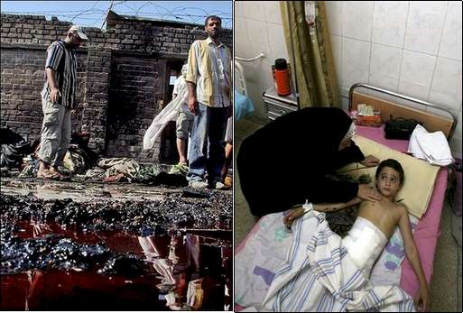 Composite two panel graphic showing bombing scene and wounded child
