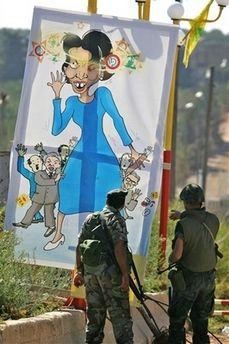 Cartoon of Rice and leaders of March 14th movement kfar kila