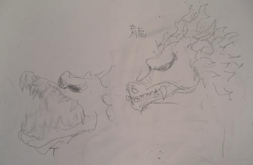 Left japanese school graffiti dragons