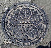 Combined sewage system manhole cover, Minato ward, Tokyo.
