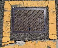 Fire emergency manhole cover, Minato ward, Tokyo.