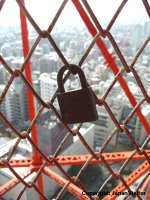 Lovers' lock on Tokyo Tower.