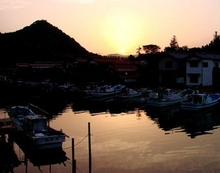 A fishing harbor at dusk in the Okis.