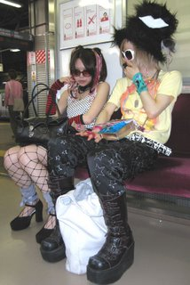 Funky Japanese teens on their way to Tokyo Design Festa.
