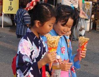 Children in yukata, Hamada Festival