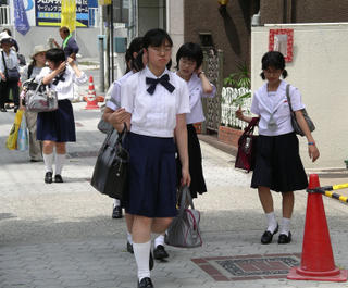 Japanese students yesterday