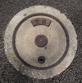 Combined sewer system manhole cover, Minato ward, Tokyo.