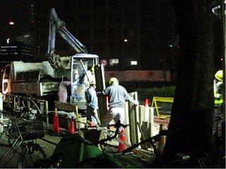 Night roadworks, Shinjuku, Tokyo.