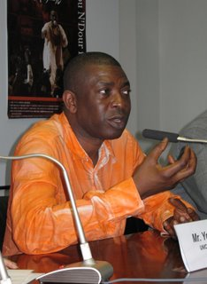 Youssou N&#8217;Dour at today's press conference.