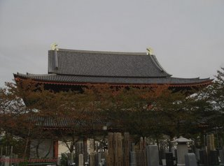 Rear view of Zojoji at dusk, Tokyo.