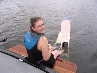 Deborah, about to ski