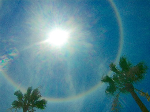 icebow halo, brightened from snow setting, saturated