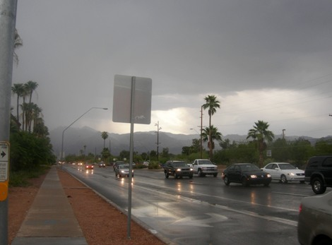 early evening rain, Tucson in June