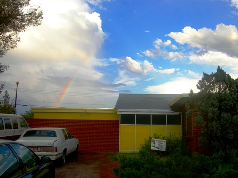 The house at the end of the rainbow s the color of sunshine.