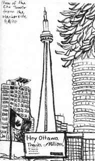 drawing of cn tower toronto