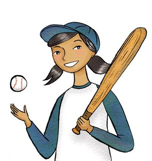 girl and baseball illustration