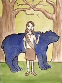 painting of bear and girl scout
