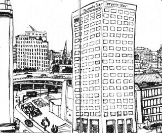 Drawing of the view from my hotel in Toronto