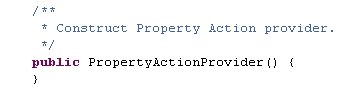 The PropertyActionProvider constructor