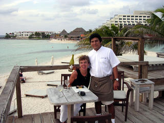 Isla Mujeres: Nan with Juan at the Na Balam Restaurant