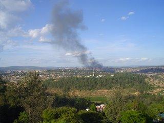 Kigali skyline with smoke