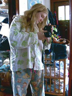 taking a picture of the pajama outfit
