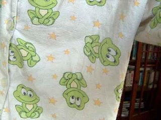 close-up of frog pajamas