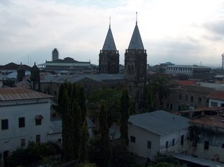 view of Stone Town from a rooftop restaurant