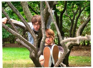 Chris Koza and Pete Sieve in a tree