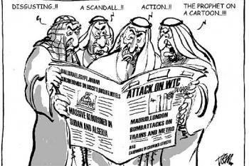 Viñeta sobre árabes leyendo el periodico