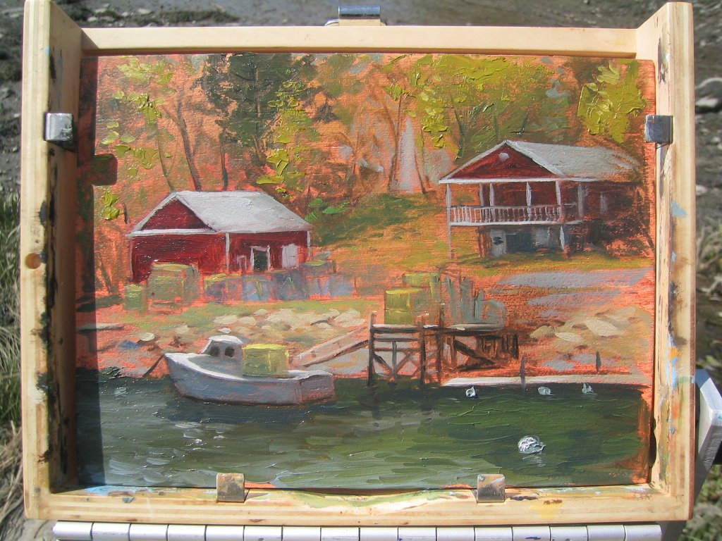Monochromatic Oil Painting Of A Boat By The Dock