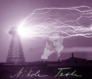 Nicola Tesla with Tesla-Coil