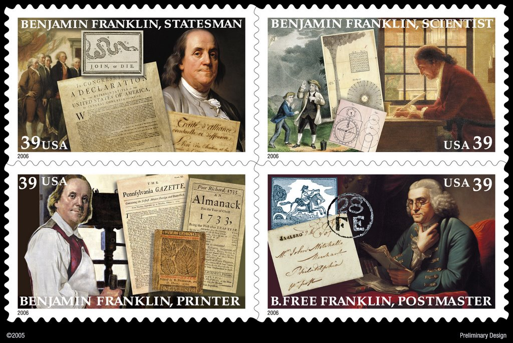 Four 39 Cent Stamps Depicting Benjamin Franklins Accomplishments As A Printer Statesman Scientist And Postmaster Will Be Released Today