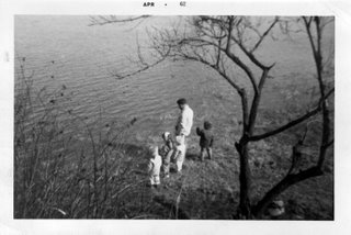 photo of a springtime flood from the Tittabawassee River in 1962 - our second backyard flood experience
