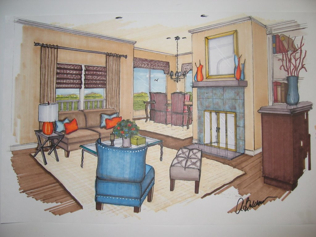 Interior design my marker renderings life 39 s colorful for Brique interieur
