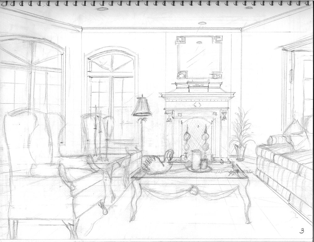 Interior design my perspective drawings life 39 s for Living room drawing design