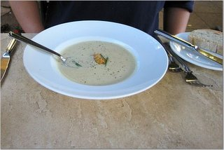 WHITE CORN SOUP with DUNGENESS CRAB KATAFI