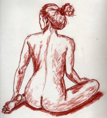 Dessin au crayon de femme nu