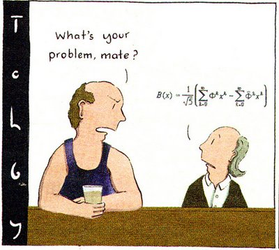 Cartoon by Tohby Riddle - men, bar, What's your problem?, maths