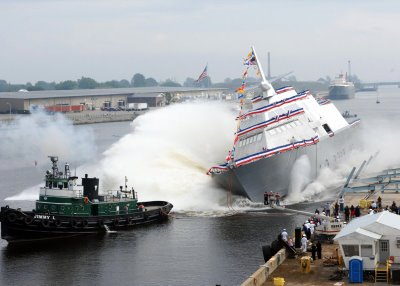 23 September 2006 the US Navy christened Freedom, the first littoral combat ship (LCS) during a ceremony at Marinette Marine Corp
