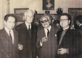Miguel Maticorena con Marcel Bataillon, Ramón Carande y Josep Barnadas en una reunión en Sevilla, 1968