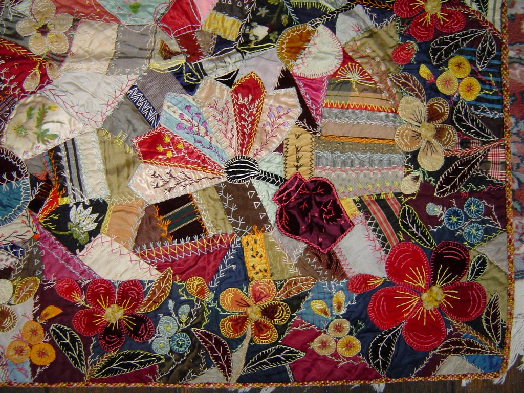 Antique Crazy Quilts  Floral Quilt