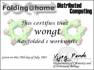 This certifies that wongt has folded 1 workunit