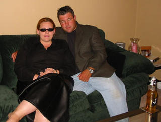 Jen and Dave, Rockin' the green couch