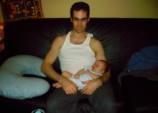 Dad practices his baby whisperer moves on Max